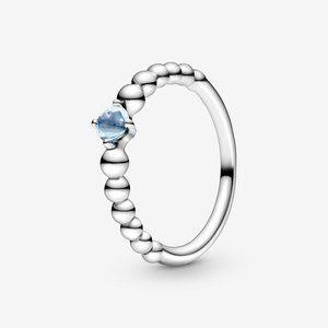 🔥PANDORA Aqua Blue Beaded Ring
